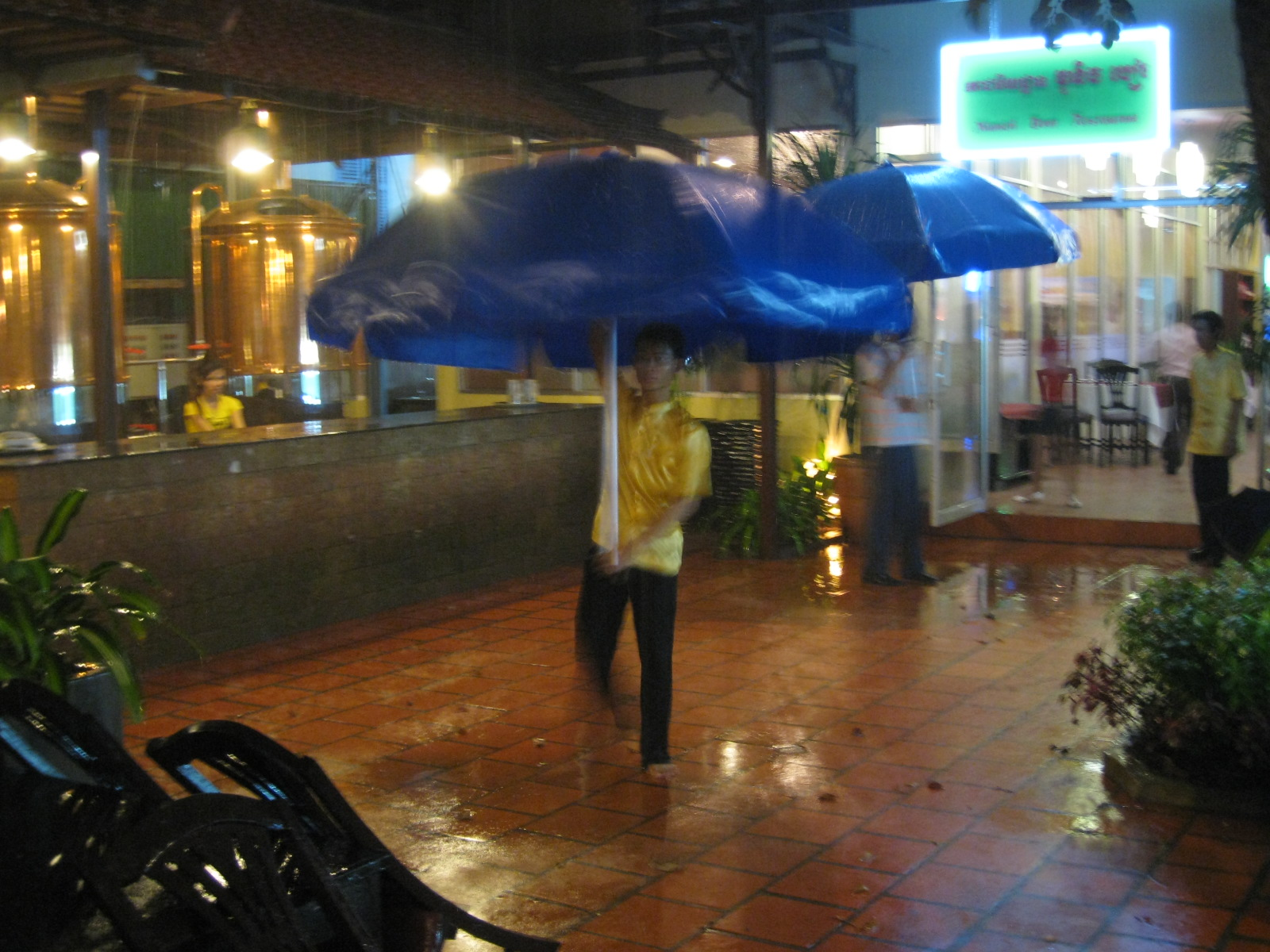 Multi-purpose table umbrellas, I knew I should've packed one.