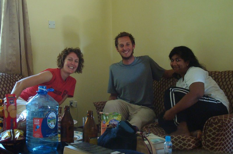 Three Fellows (Zack, Nabomita, and me) in Mombasa, Kenya--brainstorming about Kiva and how to save the world