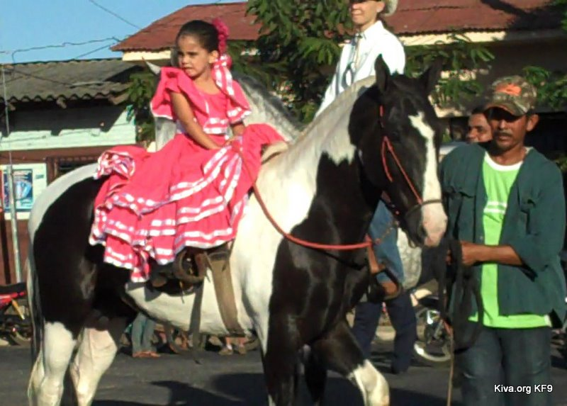 This picture is one of the youngest riders decked out in a gorgeous pink dress, other riders celebrated by dancing on top of their horses, pulling Kiva Fellows up for a ride and having another drink.