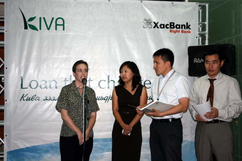 Kimberly speaking at the Kiva – XacBank publicity event