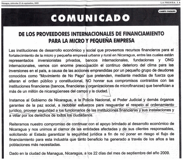 Full-page ad in the Nicaraguan newspaper La Prensa, 9/23/09, signed by Kiva and 24 other groups