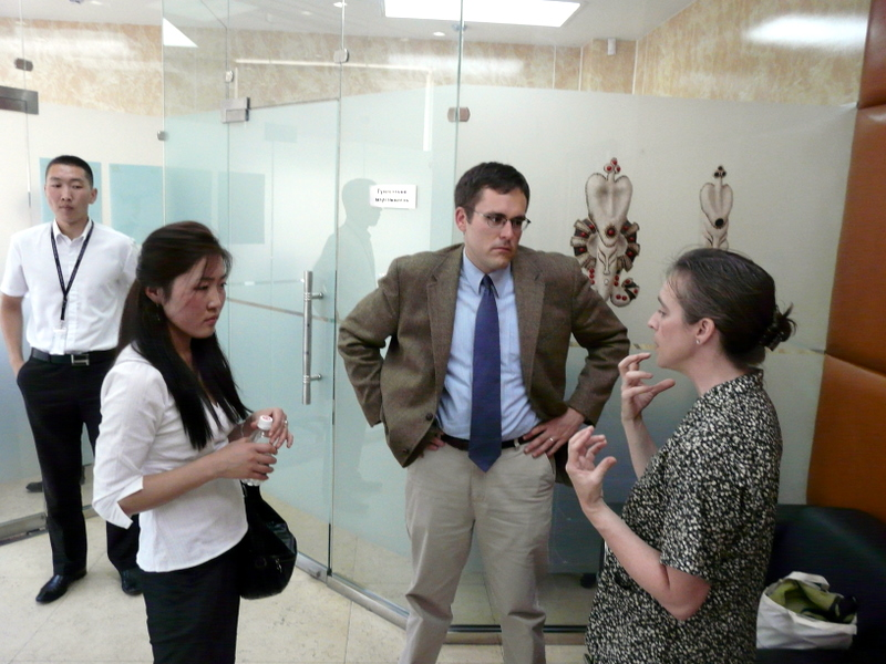 Kimberly discussing Kiva with representatives of Friends of Mongolia