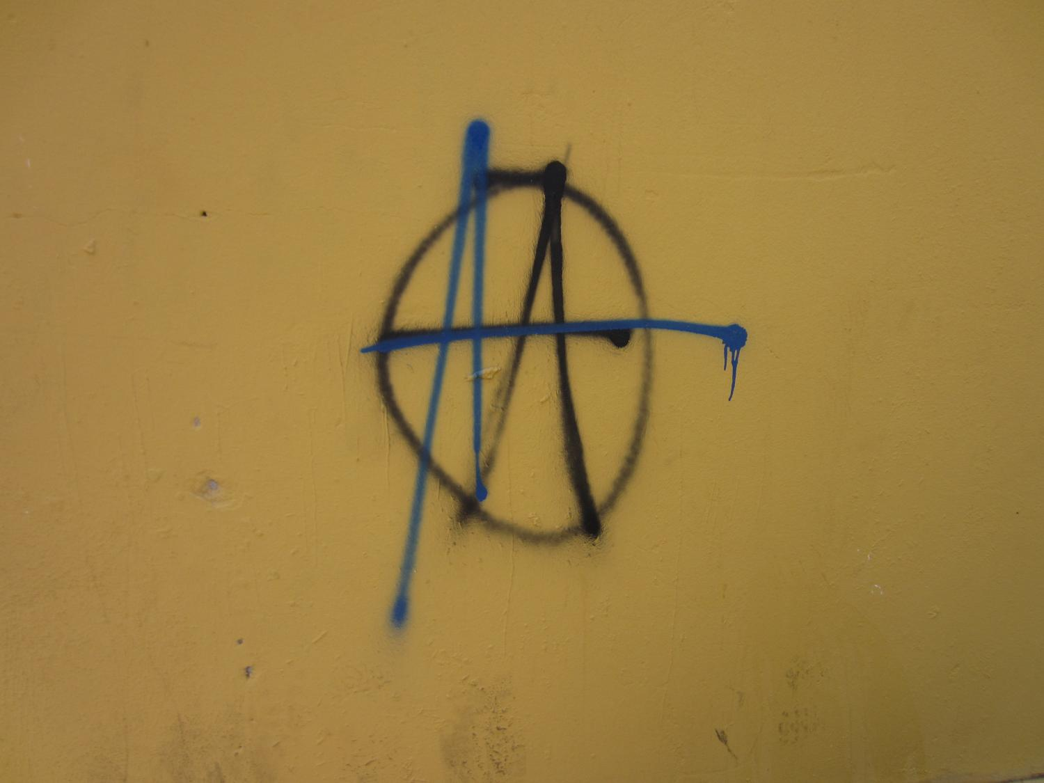photo essay political expression through graffiti kiva anarchy symbols are omnipresent in n graffiti